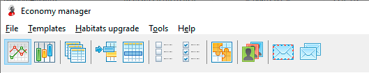 Toolbar of economy manager
