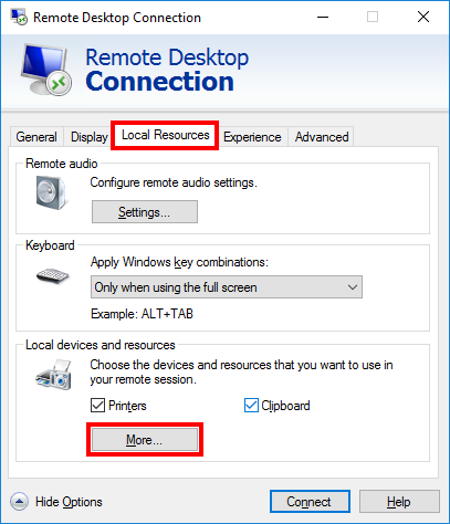 Configure sharing of local resources with the remote server