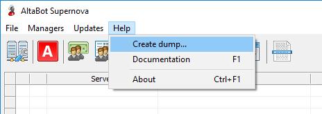 Launching of dump creation window