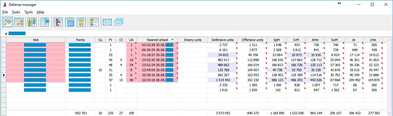 Менеджер обороны: список подключенных аккаунтов